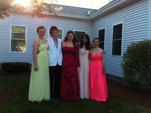 Sienna, Peter, Rayla, Risha, and Rachel at prom