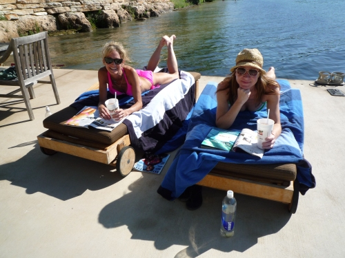 Laura and Binky lounging on the dock