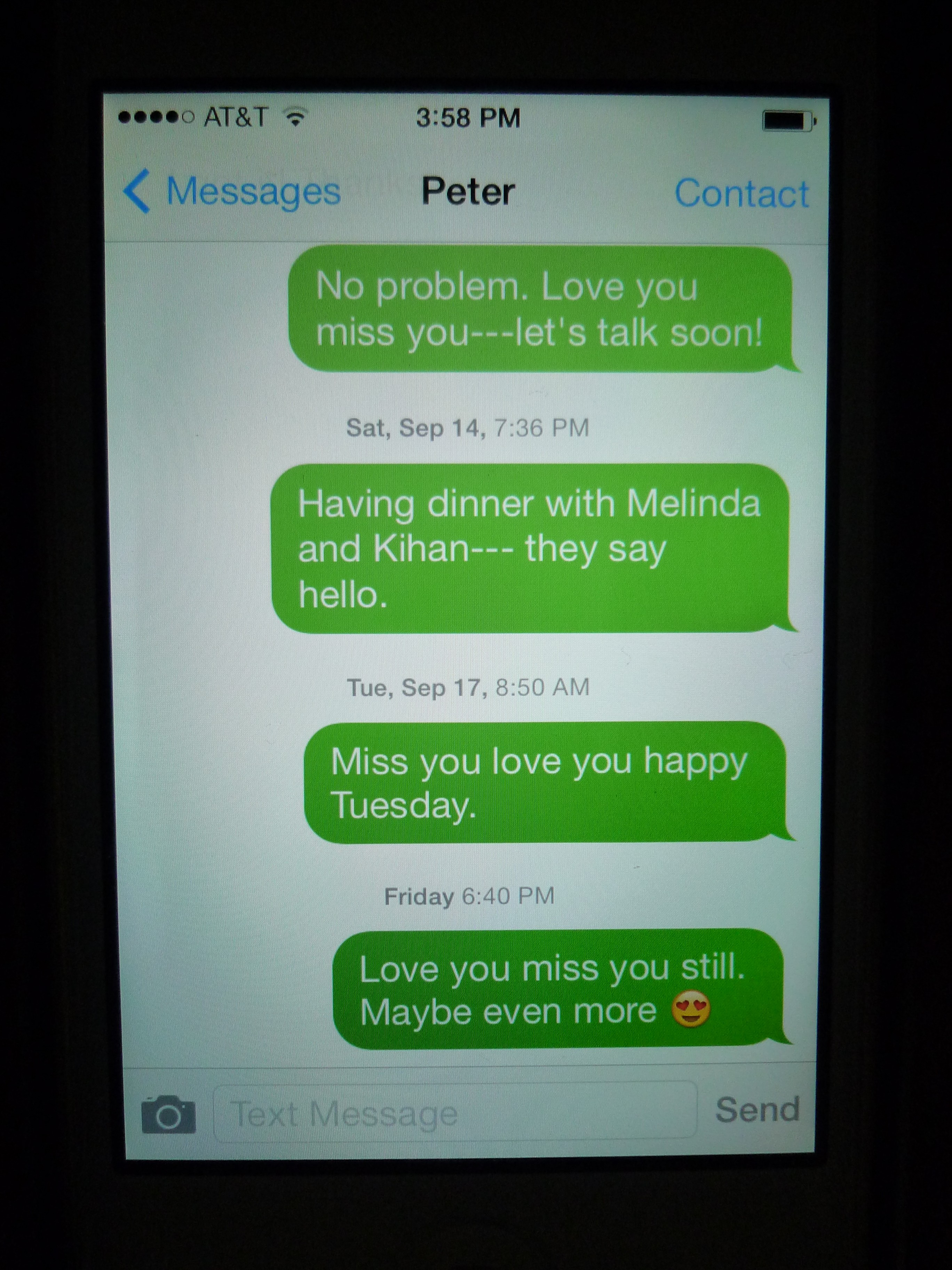 Texts to Mr. Peter