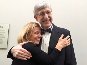 My friend Karen Latzka gives Dr. Francis Collins a hug